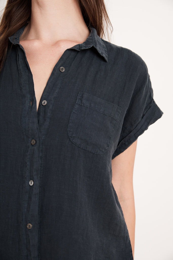 EMERSON WOVEN LINEN TOP IN SHADOW
