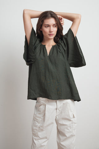 KALILA WOVEN LINEN RUFFLE SLEEVE TOP IN DILLWEED