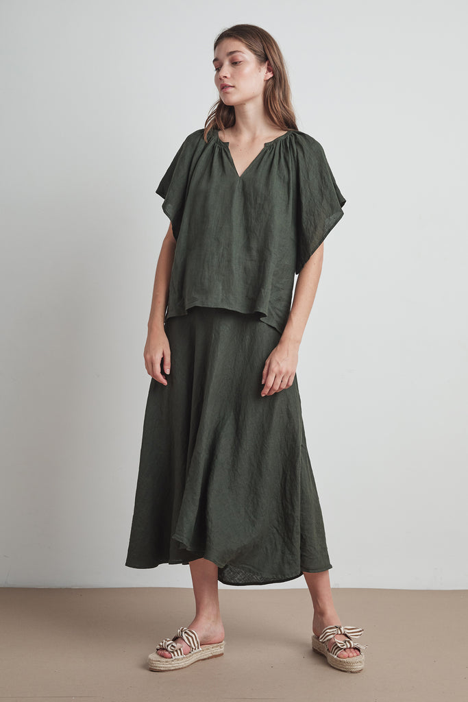 RALEIGH WOVEN LINEN SKIRT IN DILLWEED