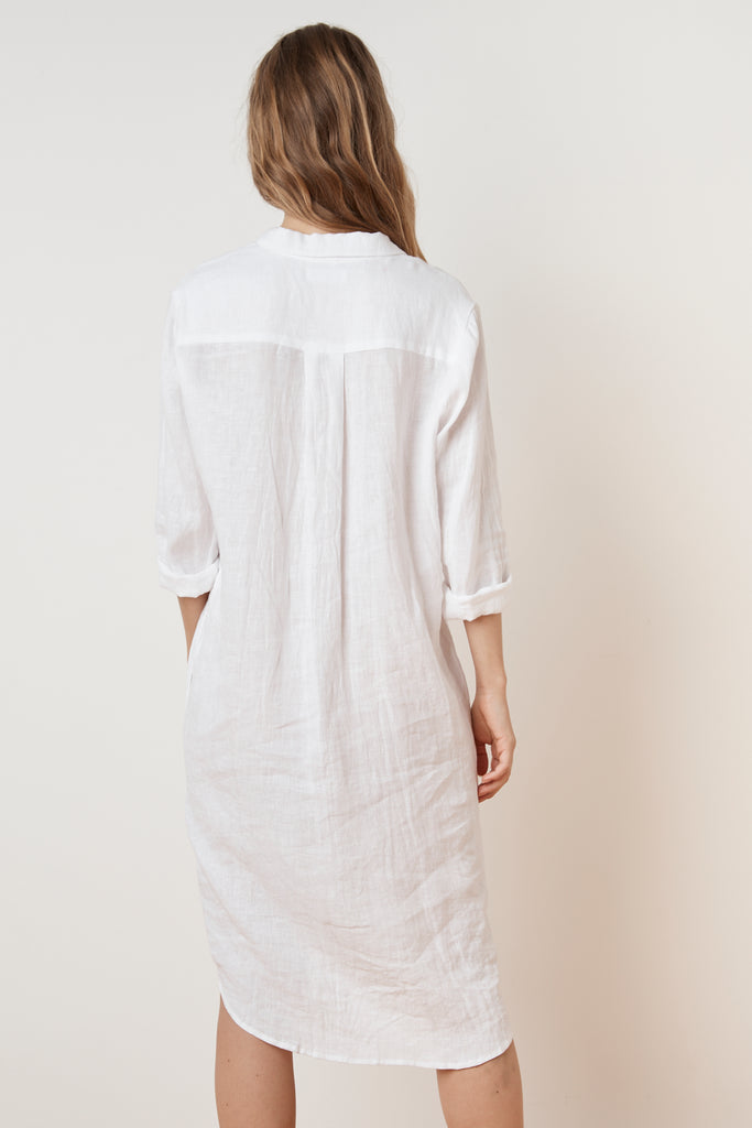 NANDY WOVEN LINEN SHIRT DRESS IN WHITE