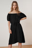 PAULINE WOVEN LINEN OFF THE SHOULDER TIE DRESS IN BLACK