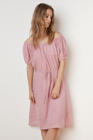PAULINE WOVEN LINEN OFF THE SHOULDER TIE DRESS IN CANDY