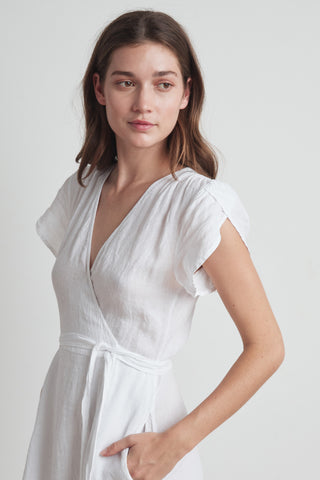 POSIE WOVEN LINEN WRAP DRESS IN WHITE