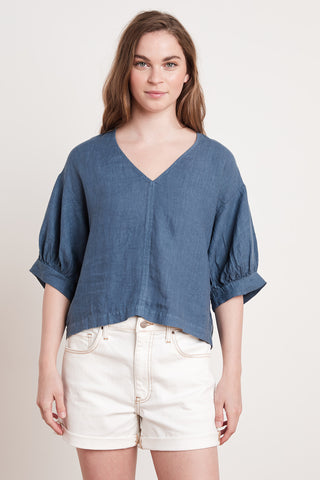 TAYLER WOVEN LINEN TOP IN WAVE
