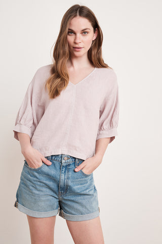 TAYLER WOVEN LINEN TOP IN DOVE