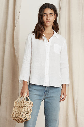 VERN WOVEN LINEN BUTTON UP SHIRT IN WHITE