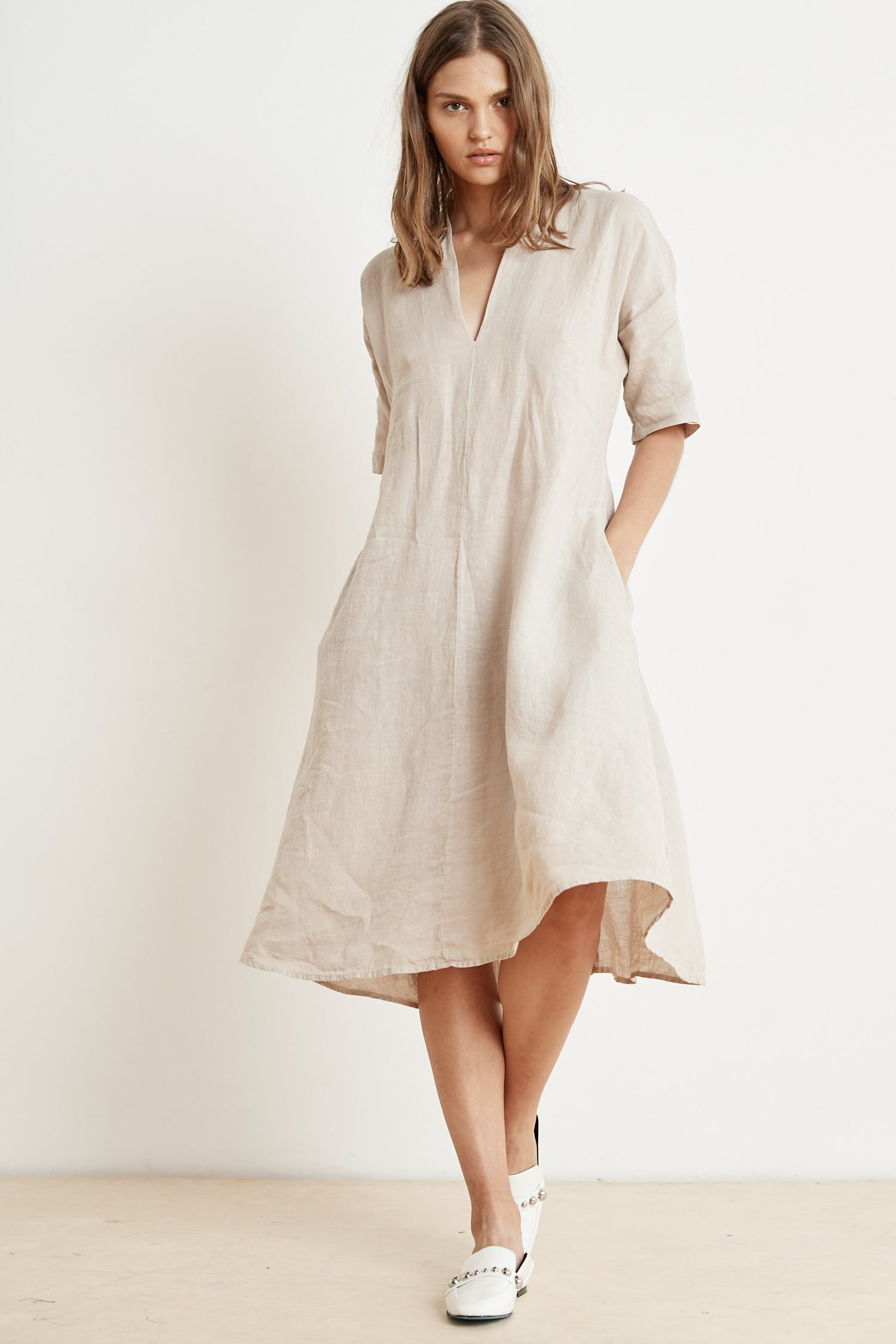 WINLEY LINEN FROCK IN CAFE