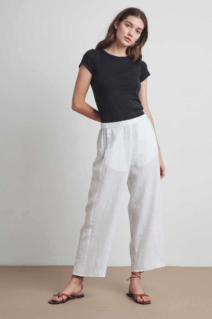 ZOLA WOVEN LINEN PANT IN WHITE