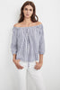 JENE OFF THE SHOULDER WOVEN COTTON STRIPE TOP IN BLUE