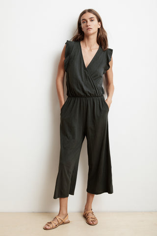 WYNONNA COTTON SLUB FAUX WRAP JUMPSUIT IN CIRRUS