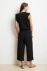 WYNONNA COTTON SLUB FAUX WRAP JUMPSUIT IN BLACK