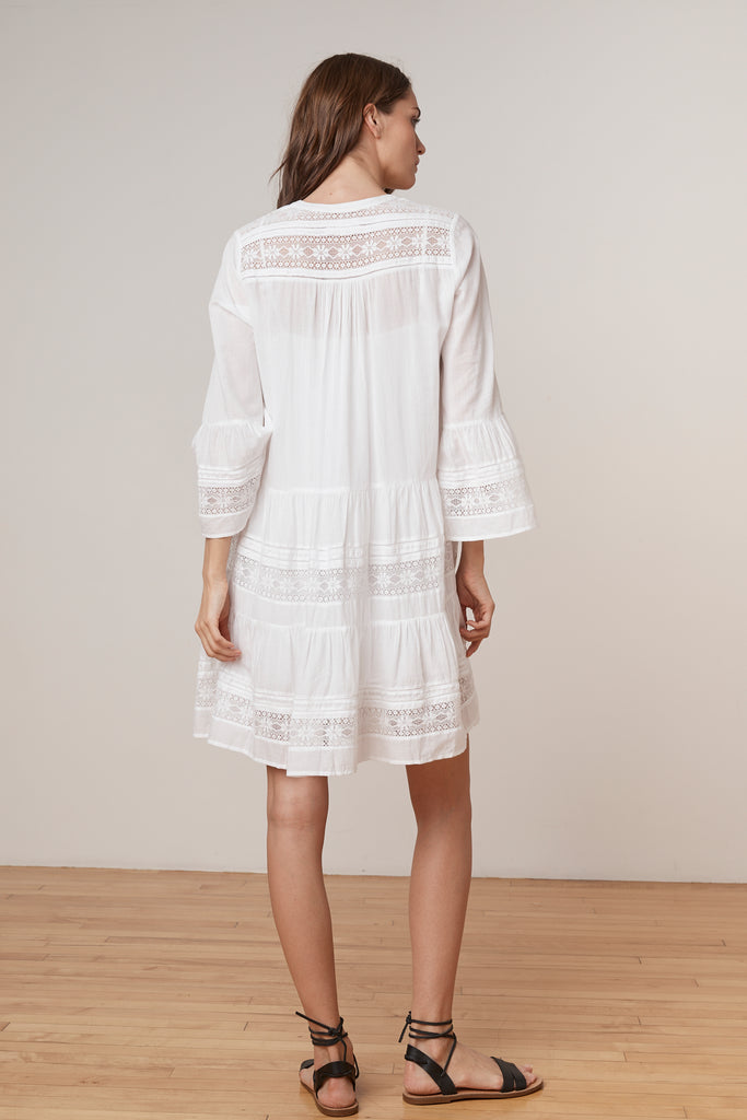 NURIA COTTON LACE  BELL SLEEVE DRESS IN WHITE