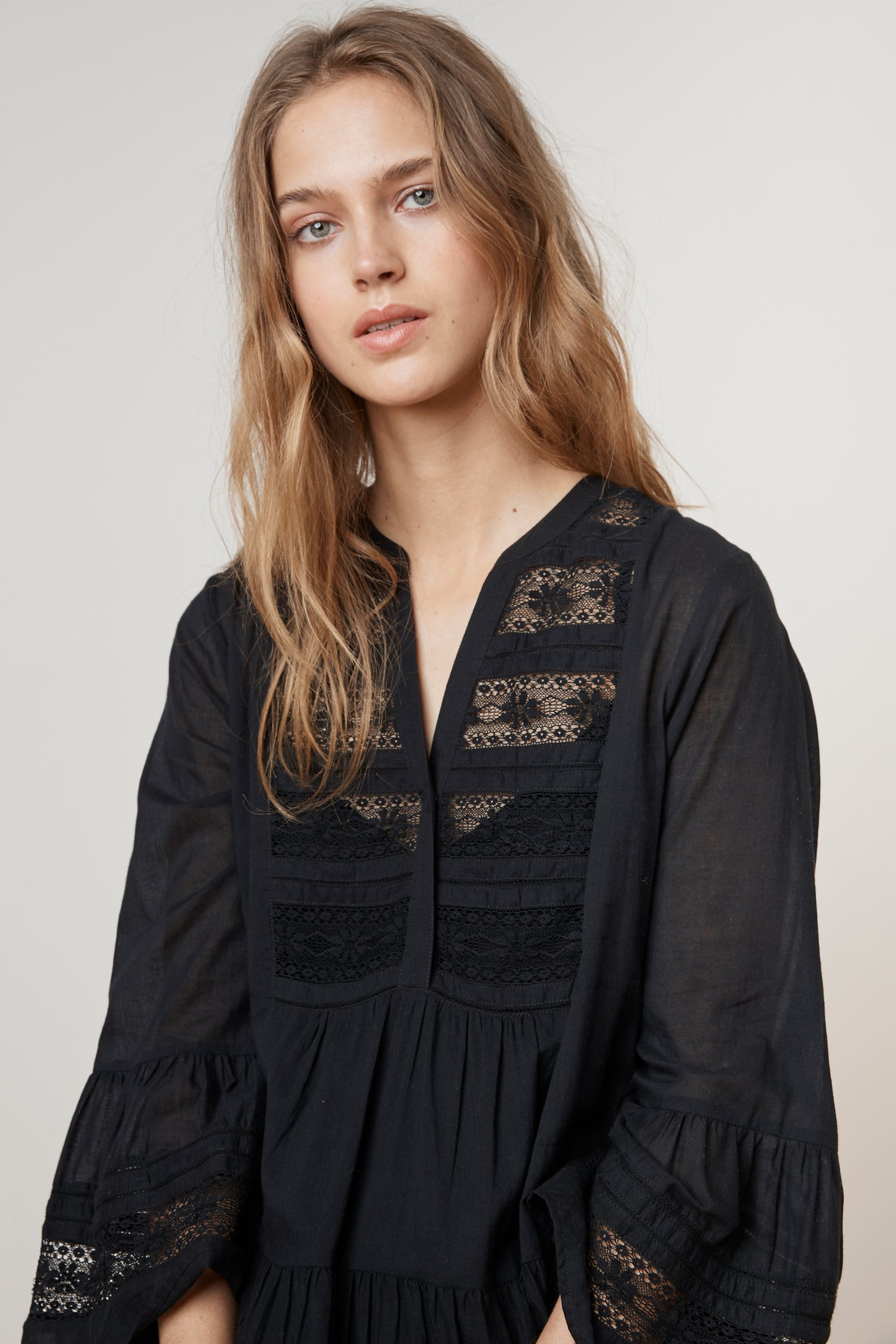 NURIA COTTON LACE  BELL SLEEVE DRESS IN BLACK