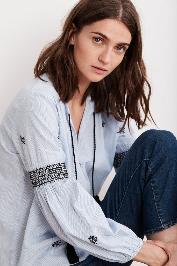AIMEE EMBROIDERED STRIPE PEASANT TOP IN BLUE