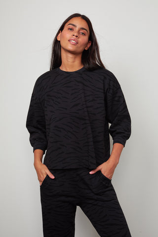 HILDA ZEBRA FLEECE 3/4 SLEEVE SWEATSHIRT IN EXHAUST