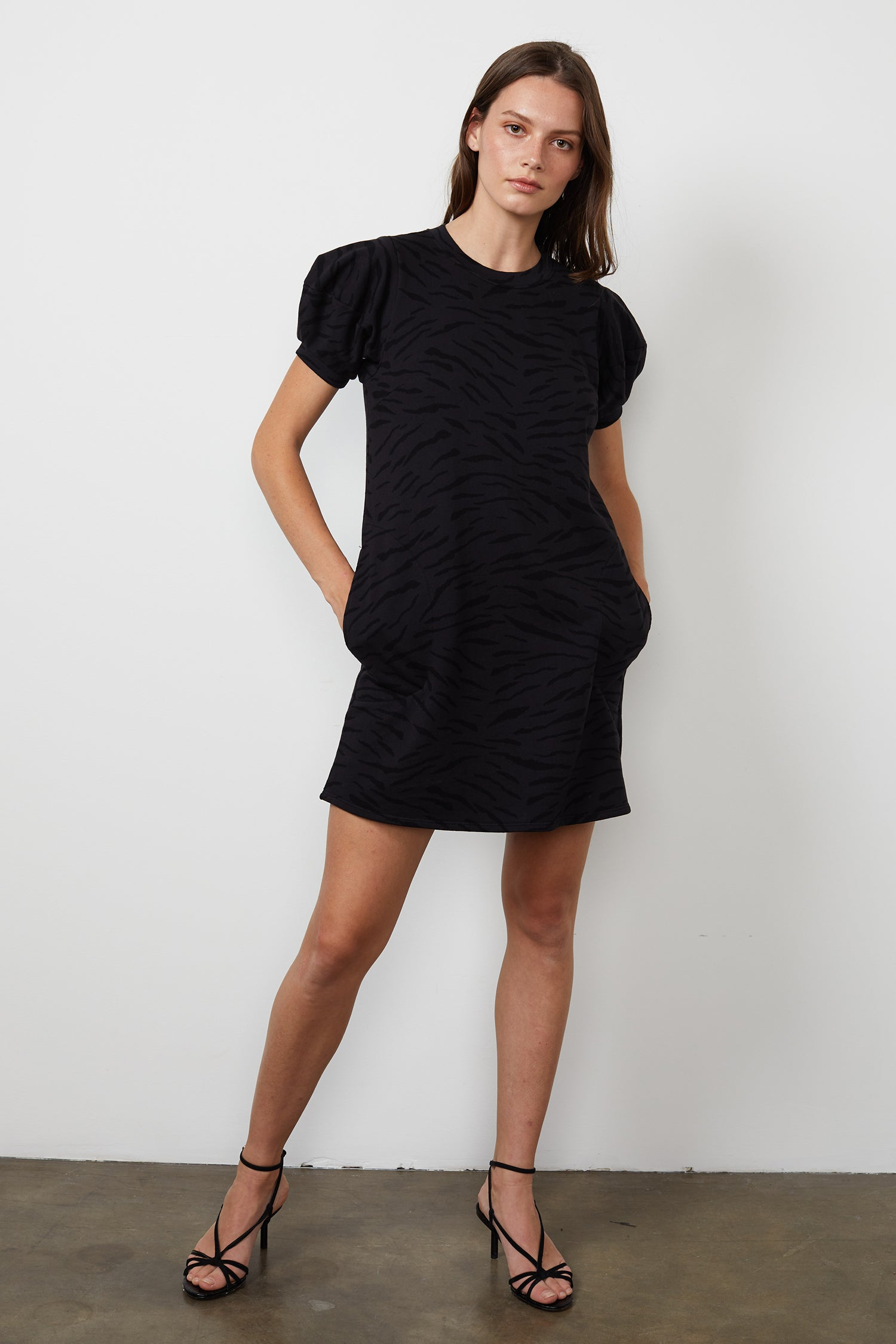 PRIMA ZEBRA FLEECE PRINTED DRESS IN EXHAUST