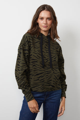 ROSEANNE ZEBRA FLEECE PRINTED HOODIE IN ALOE