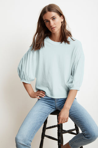 ZEE COTTON SLUB  3/4 PUFF SLEEVE TEE IN ARCTIC