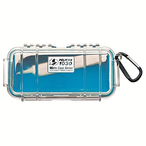 Pelican 1030 Micro Case With Carabiner (Blue/Clear)