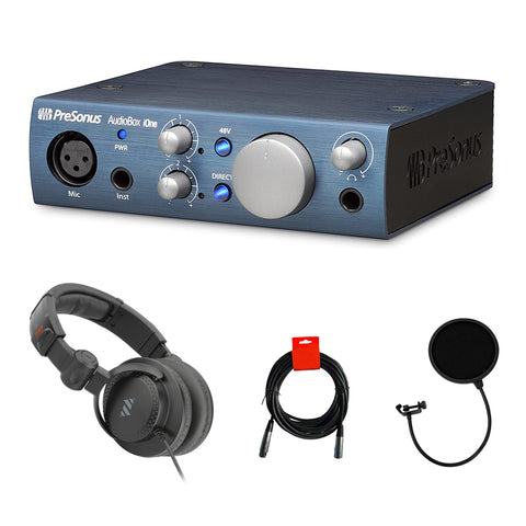 PreSonus AudioBox iOne USB 2.0 Interface Bundle with Studio Headphone, Pop Filter & XLR Cable