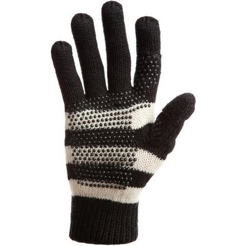 Freehands Women's Stripe Wool Knit Gloves Black Medium