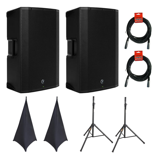 "Mackie Thump12BST Boosted 1300W 12"" Advanced Powered Loudspeaker (Pair) with (2) SSA100 Speaker Stand Skirt, (2) Speaker Stand &(2) XLR Cable"
