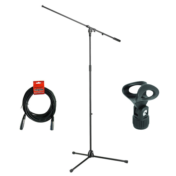 K&M 21021 Tripod Microphone Stand with Boom (Black), Elliptical Microphone Clip & 20' XLR Cable Bundle