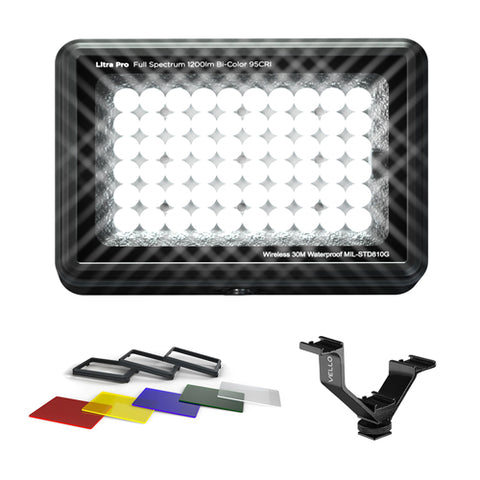 "LITRA LitraPro Bi-Color On-Camera Light with Filter Set for Litra Pro Bi-Color LED Light & V-Rig 4.1"" Triple Shoe Bracket Bundle"