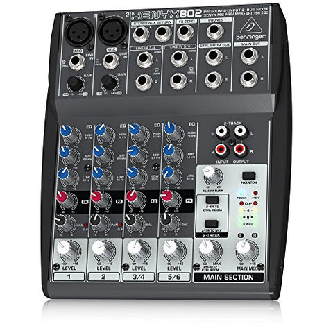 Behringer Xenyx 802 Premium 8-Input 2-Bus Mixer with Xenyx Mic Preamps and British EQs