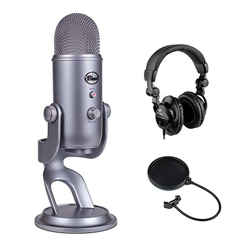 Blue Yeti USB Microphone (Cool Gray) with Polsen HPC-A30 Studio Monitor Headphones & Pop Filter Bundle