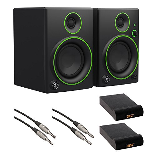 "Mackie CR5BT 5"" Multimedia Monitors with Bluetooth (Pair), IP-S Isolation Pad (Pair) & 1/4"" TRS Male to 1/4"" TRS Male Audio Cable (2-Pieces) Kit"