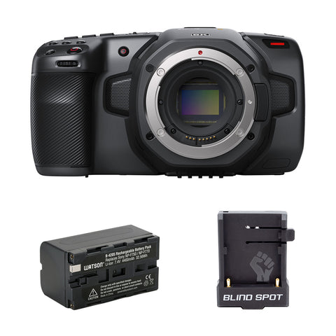 Blackmagic Design Pocket Cinema Camera 6K (Canon EF) with NP-F770 Li-Ion Battery Pack & Blind Spot Gear Power Junkie Bundle