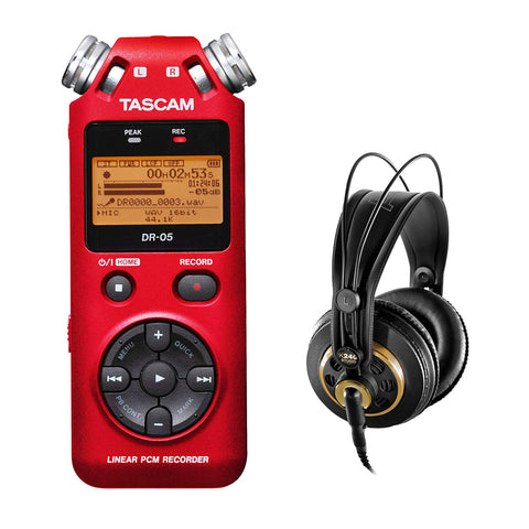 Tascam DR-05 Portable Handheld Digital Audio Recorder (Red) with AKG K 240 Studio Pro Headphones Bundle