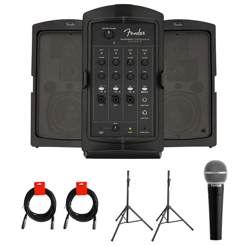 Fender Passport Conference Series 2 Portable 175W Powered PA System with Vocal Microphone, 2x Speaker Stand & 2x XLR Cable Bundle