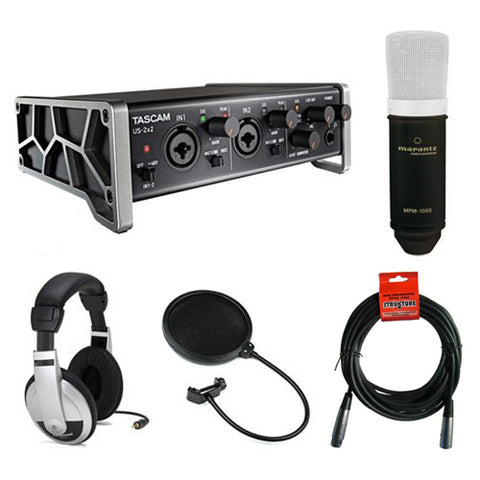 Tascam US-2x2 2-Channel USB Audio Interface Kit with Large-Diaphragm Condenser