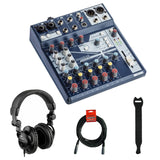 Soundcraft Notepad-8FX Small-Format Analog Mixing Console with Polsen HPC-A30 Monitor Headphones, Fastener Straps (10-Pack) & XLR Cable Bundle