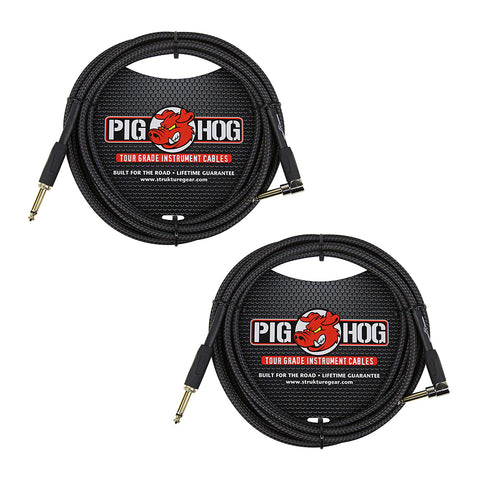 "Pig Hog PC-H10BKR 1/4"" Right-Angle to 1/4"" Black Woven Guitar Instrument Cable, 10 Feet (2-Pack)"