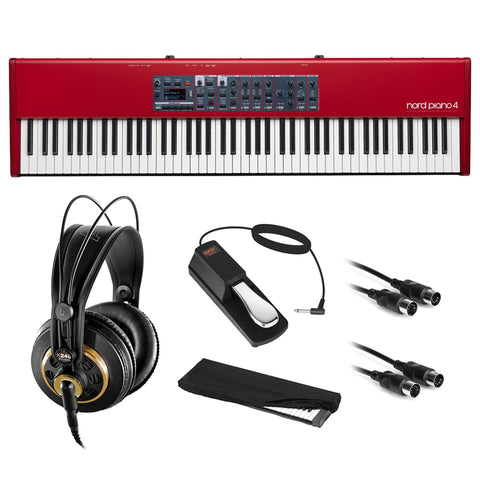 Nord Piano 4 88-Note Digital Piano with Virtual Hammer Action Keyboard, AKG K 240 Pro Headphones, Sustain Pedal, Dust Cover & 2x MIDI Cable Bundle