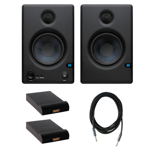 "PreSonus Eris E4.5 Hi-Definition 2-Way 4.5"" Nearfield Monitors (Pair) with (2) Isolation Pad for Studio Monitor & 10-Feet Instrument Cable, 6mm Woven Kit"