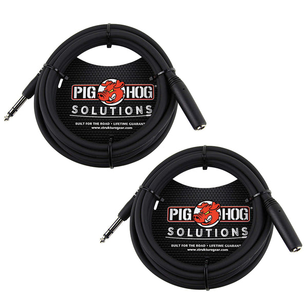 "Pig Hog PHX14-10 1/4"" TRSF to 1/4"" TRSM Headphone Extension Cable, 10 Feet (2-Pack)"