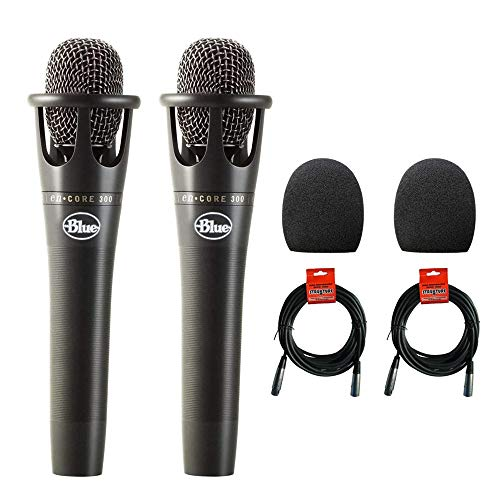 "Blue Microphones enCORE 300 Vocal Condenser Microphone 2-Pack with (2) 1-5/9"" Foam Windscreen & (2) XLR Cable Bundle"