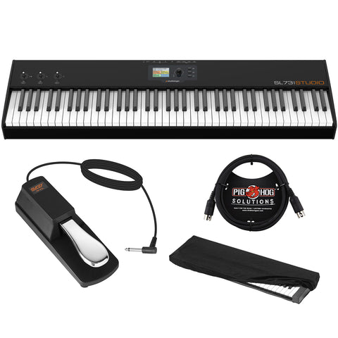 StudioLogic SL73 Studio 73 Key USB/MIDI Keyboard Controller with FP-P1L Sustain Pedal, Keyboard Dust Cover (Medium) & 6ft MIDI Cable Bundle