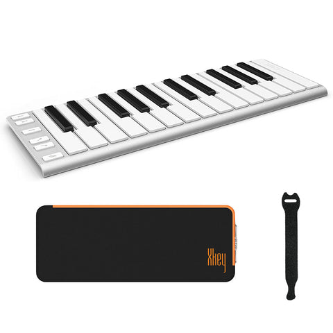 CME Xkey 25 USB MIDI Controller - Silver with CME Supernova Xkey Carrying Case & 10-Pack Straps Bundle