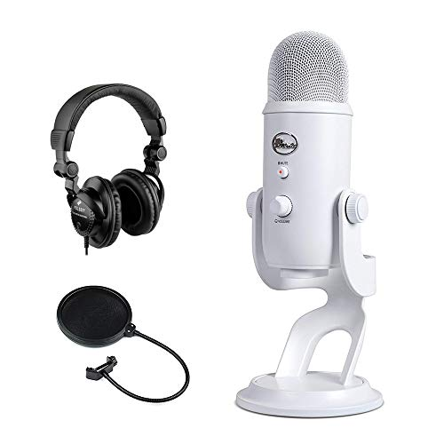 Blue Yeti USB Microphone (Whiteout) with Polsen HPC-A30 Studio Monitor Headphones & Pop Filter Bundle