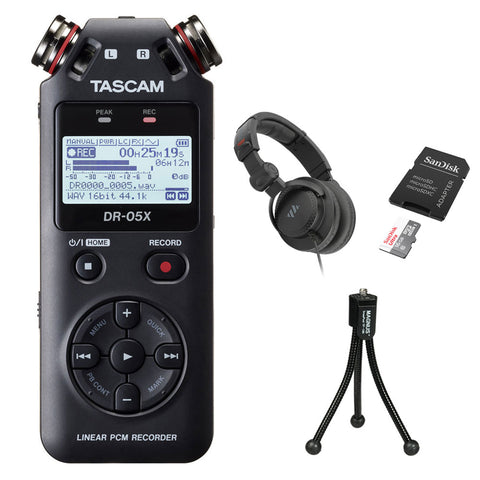 Tascam DR-05X Stereo Handheld Digital Audio Recorder with Polsen HPC-A30-MK2 Studio Headphones, 16GB Memory Card & Tripod Bundle