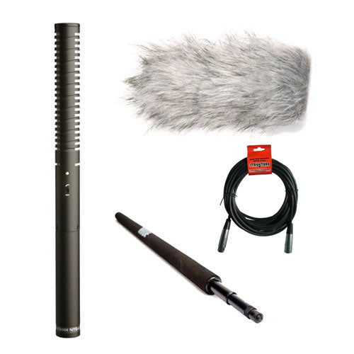 Rode NTG-2 Dual Powered Condenser Mic & Cable, Handheld Boom Pole & Rode Deadcat