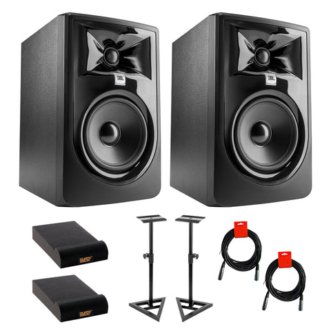 "JBL 305P MkII Powered 5"" Studio Monitor (Pair) Bundle with Studio Monitor Stands (Pair), 2x Small Pads & XLR-XLR Cable"