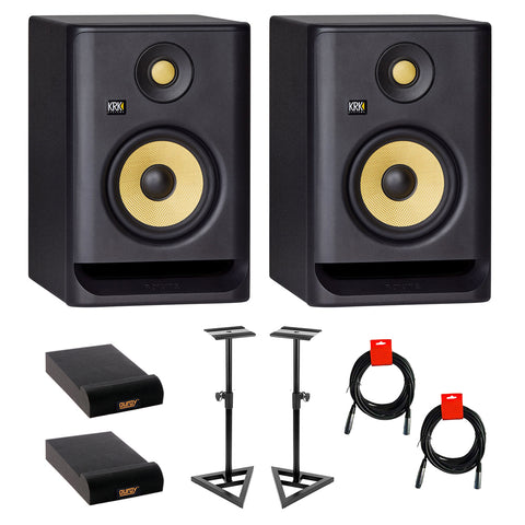 "KRK ROKIT 5 G4 5"" 2-Way Studio Monitor (Pair) Bundle with Studio Monitor Stands (Pair), 2x Small Pad & 2x XLR Cable"