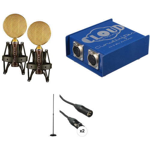 Cascade Microphones FAT HEAD Ribbon Mic Matched Stereo Pair Kit with Cloudlifter CL-2 Mic Activator
