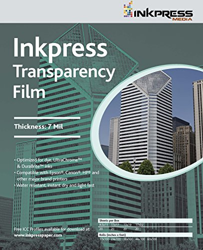 Inkpress Transparency, 7mil Resin Based Inkjet Film, 11^ x 17^, 20 Sheets